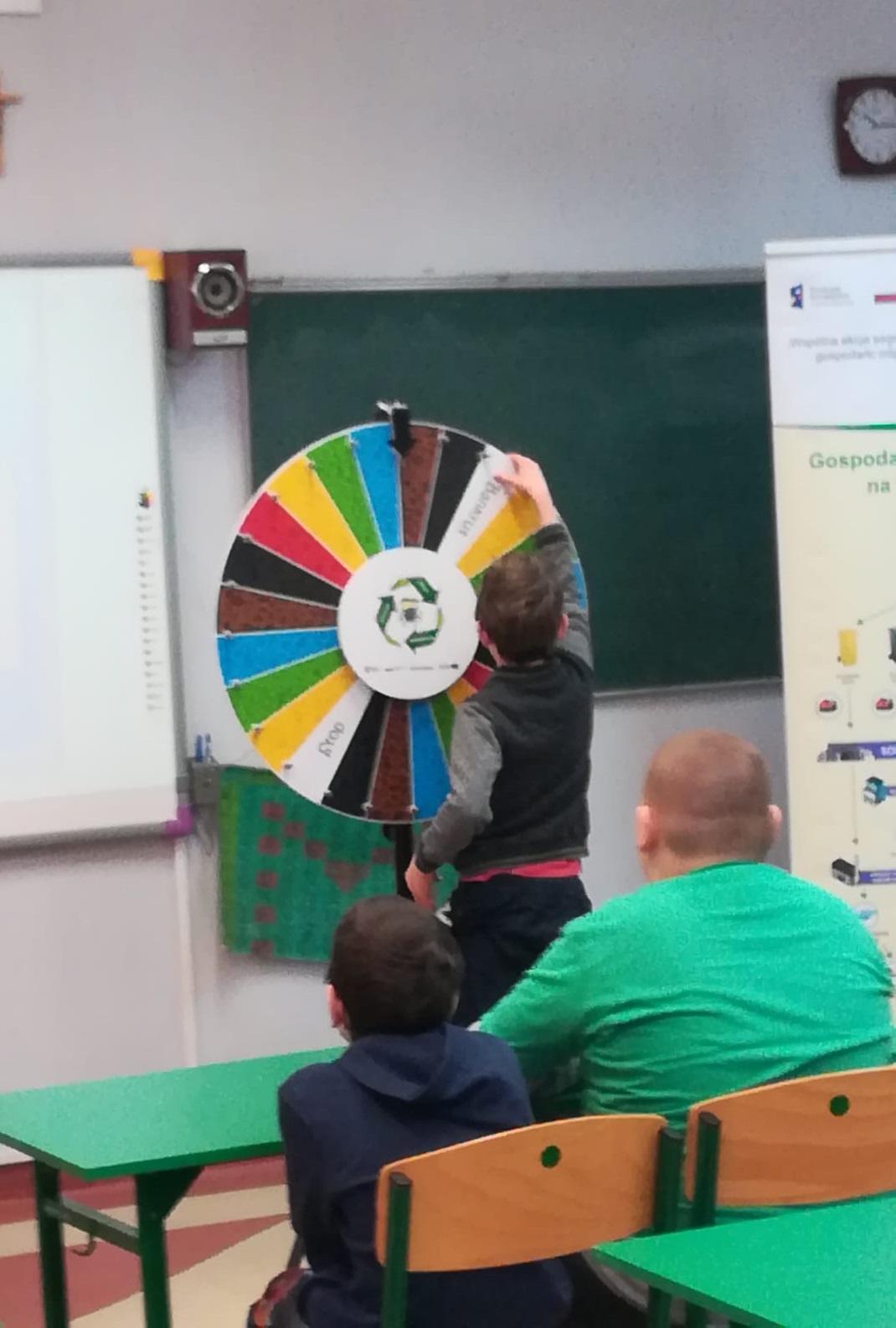 prelekcje edukacyjne w szkole podstawowej - gra w odpadowe Koło Fortuny