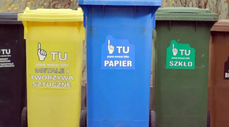 Żółty pojemnik na śmieci